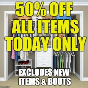 ♥50% OFF ALL ITEMS TODAY ONLY♥